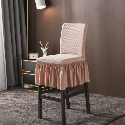 2020新款酒吧高腳連體椅子套金針提花裙擺款椅套彈力 金提駝酒吧椅套