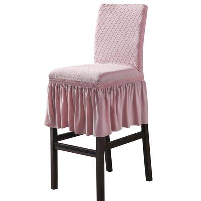 2020新款酒吧高腳連體椅子套金針提花裙擺款椅套彈力跨境供貨 金提粉酒吧椅套