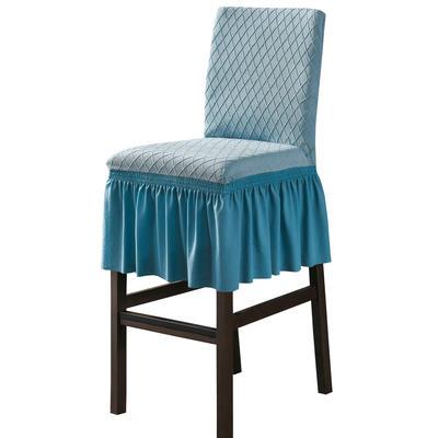 2020新款酒吧高腳連體椅子套金針提花裙擺款椅套彈力跨境供貨 金提藍酒吧椅套