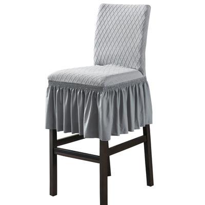 2020新款酒吧高腳連體椅子套金針提花裙擺款椅套彈力跨境供貨 金提淺灰酒吧椅套