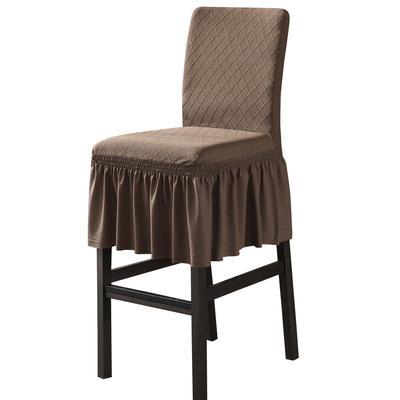 2020新款酒吧高腳連體椅子套金針提花裙擺款椅套彈力跨境供貨 金提淺咖酒吧椅套