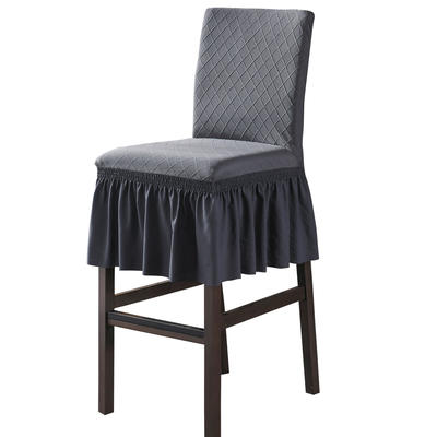 2020新款酒吧高腳連體椅子套金針提花裙擺款椅套彈力跨境供貨 金提深灰酒吧椅套