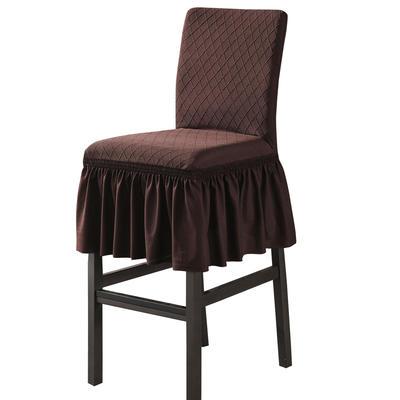 2020新款酒吧高腳連體椅子套金針提花裙擺款椅套彈力跨境供貨 金提深咖酒吧椅套