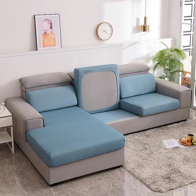 2021款金针提花沙发笠坐垫套全包万能套沙发套沙发垫沙发布套 单人标准:适用于宽 50-70cm*长50-70cm*高5- 金提蓝(沙发笠)