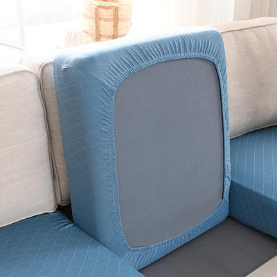 全包万能套纯色简约懒人沙发罩沙发笠组合金针提花 单人标准:适用于宽 50-70cm*长5 金提蓝(沙发笠)