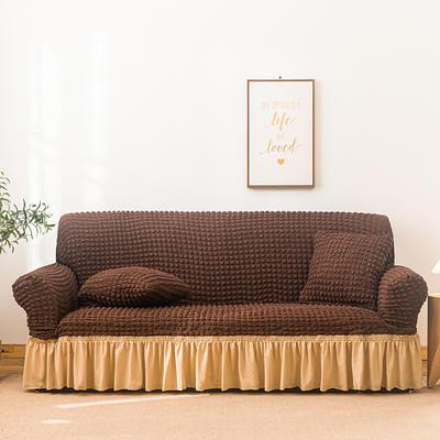 2021款泡泡纱布万能套罩裙摆款全包沙发套 跨境外贸商超专供新 单人90-140cm 中咖米黄裙摆款