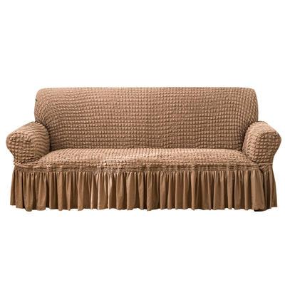 2021款泡泡纱布万能套罩裙摆款全包沙发套 跨境外贸商超专供新 单人90-140cm 单色埃及灰裙摆款