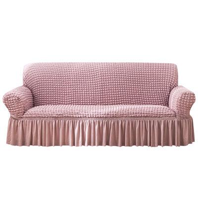 2021款泡泡纱布万能套罩裙摆款全包沙发套 跨境外贸商超专供新 单人90-140cm 单色粉裙摆款