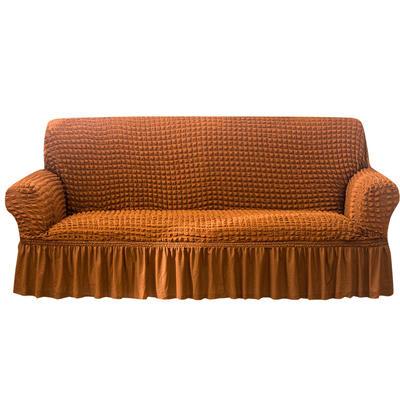 2021款泡泡纱布万能套罩裙摆款全包沙发套 跨境外贸商超专供新 单人90-140cm 单色芥末黄裙摆款