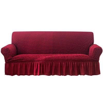 2021款泡泡纱布万能套罩裙摆款全包沙发套 跨境外贸商超专供新 单人90-140cm 单色酒红裙摆款