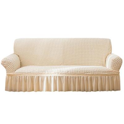 2021款泡泡纱布万能套罩裙摆款全包沙发套 跨境外贸商超专供新 单人90-140cm 单色蜡白裙摆款