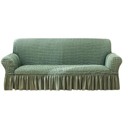 2021款泡泡纱布万能套罩裙摆款全包沙发套 跨境外贸商超专供新 单人90-140cm 单色绿裙摆款