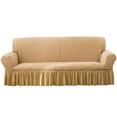 2021款泡泡纱布万能套罩裙摆款全包沙发套 跨境外贸商超专供新 单人90-140cm 单色米黄裙摆款