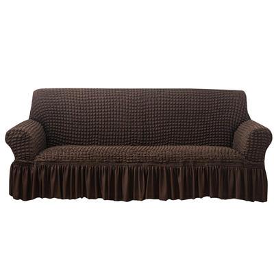 2021款泡泡纱布万能套罩裙摆款全包沙发套 跨境外贸商超专供新 单人90-140cm 单色浓咖裙摆款