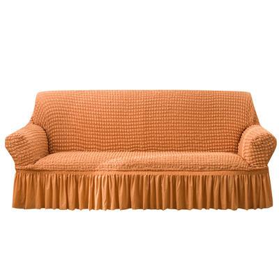 2021款泡泡纱布万能套罩裙摆款全包沙发套 跨境外贸商超专供新 单人90-140cm 单色肉橙裙摆款