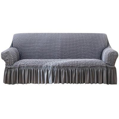2021款泡泡纱布万能套罩裙摆款全包沙发套 跨境外贸商超专供新 单人90-140cm 单色中灰裙摆款