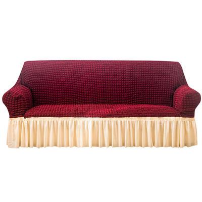2021款泡泡纱布万能套罩裙摆款全包沙发套 跨境外贸商超专供新 单人90-140cm 酒红蜡白双拼裙摆款
