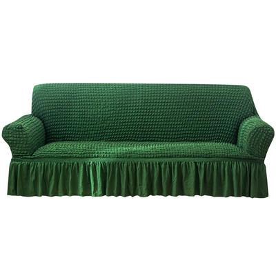 2021款泡泡纱布万能套罩裙摆款全包沙发套 跨境外贸商超专供新 单人90-140cm 单色奢华绿裙摆款