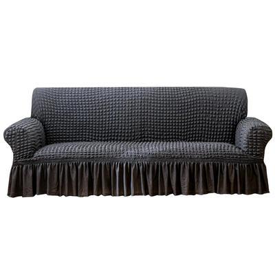 2021款泡泡纱布万能套罩裙摆款全包沙发套 跨境外贸商超专供新 单人90-140cm 单色深灰裙摆款