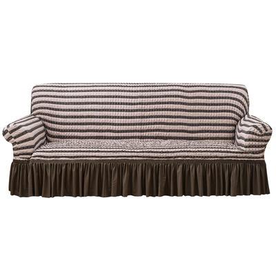 2021款泡泡纱布万能套罩裙摆款全包沙发套 跨境外贸商超专供新 单人90-140cm 双色咖裙摆款