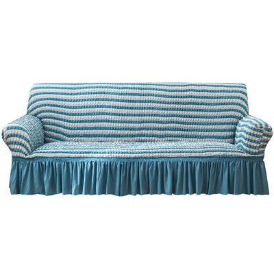 2021款泡泡纱布万能套罩裙摆款全包沙发套 跨境外贸商超专供新 单人90-140cm 双色蓝裙摆款
