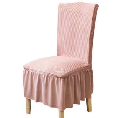 2021跨境外贸专供金粒绒裙摆款椅套弹力连体椅子套 暗粉裙摆款