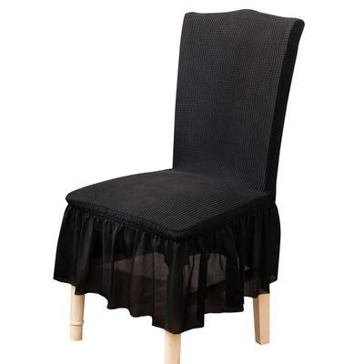 2021跨境外贸专供金粒绒裙摆款椅套弹力连体椅子套 暗黑裙摆款