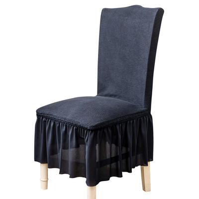 2021跨境外贸专供金粒绒裙摆款椅套弹力连体椅子套 藏青蓝裙摆款