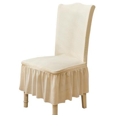 2021跨境外贸专供金粒绒裙摆款椅套弹力连体椅子套 米白裙摆款