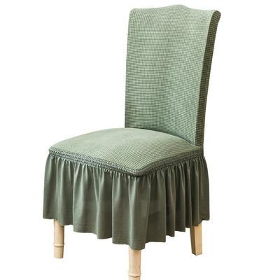 2021跨境外贸专供金粒绒裙摆款椅套弹力连体椅子套 松柏绿裙摆款