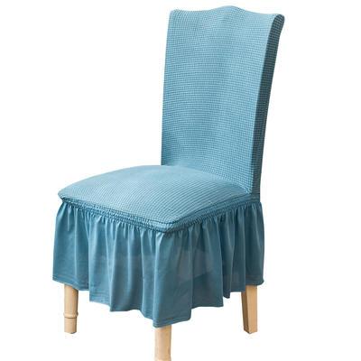 2021跨境外贸专供金粒绒裙摆款椅套弹力连体椅子套 西湖蓝裙摆款