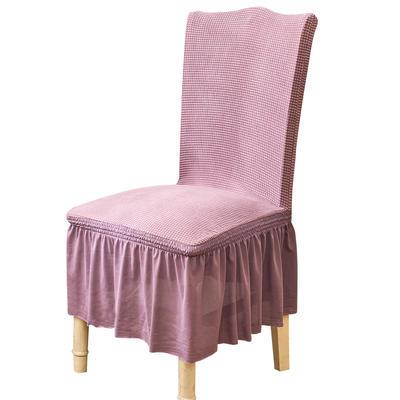 2021跨境外贸专供金粒绒裙摆款椅套弹力连体椅子套 月亮紫裙摆款