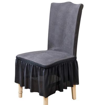 2021跨境外贸专供金粒绒裙摆款椅套弹力连体椅子套 中东灰裙摆款