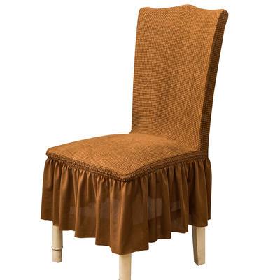2021跨境外贸专供金粒绒裙摆款椅套弹力连体椅子套 棕树黄裙摆款
