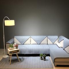 纯色款全棉沙发垫 110*210cm 简易生活(蓝灰)
