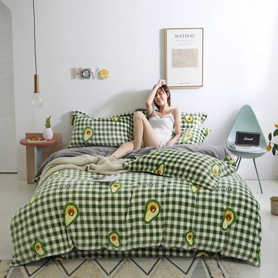 2019秋冬-牛奶絨四件套系列 床單款三件套1.2m床 牛油果