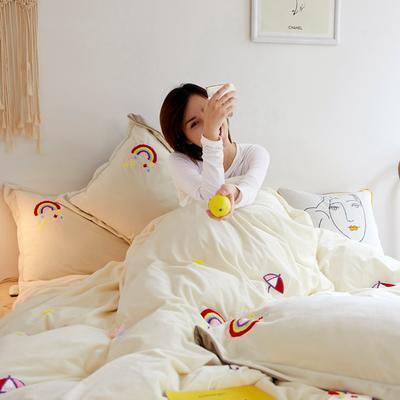 2019秋冬-宝宝绒四件套系列 床单款1.5m(5英尺)床 彩虹-米白
