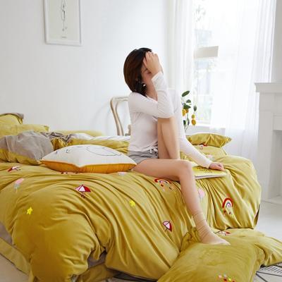 2019秋冬-寶寶絨四件套系列 床單款1.8m(6英尺)床 彩虹-秋葉黃