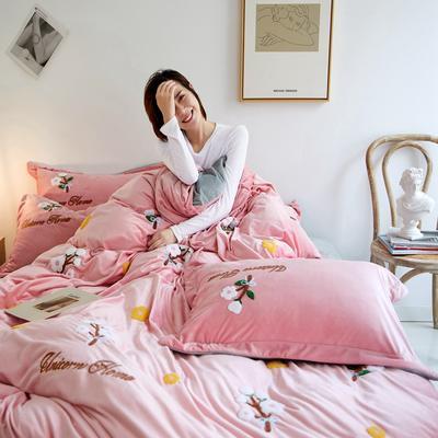 2019秋冬-寶寶絨四件套系列 床單款1.5m(5英尺)床 木棉花-仙女粉
