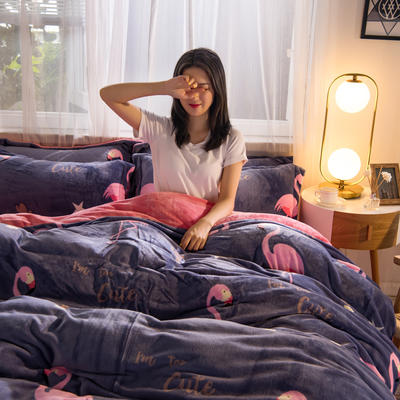 2019秋冬-牛奶絨四件套系列 床單款三件套1.2m床 大長腿灰紫