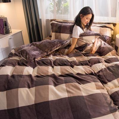 2019秋冬-牛奶絨四件套系列 床單款三件套1.2m床 裸婚時代-咖