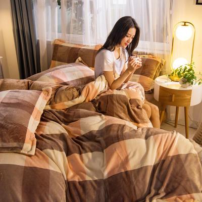 2019秋冬-牛奶絨四件套系列 床單款三件套1.2m床 裸婚時代-駝
