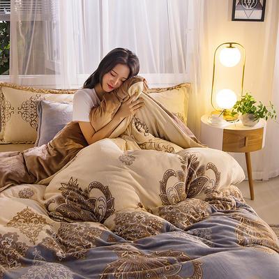2019秋冬-牛奶絨四件套系列 床單款三件套1.2m床 歐式風范