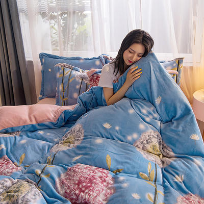2019秋冬-牛奶絨四件套系列 床單款三件套1.2m床 蒲公英的約定-藍