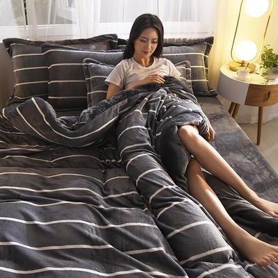 2019秋冬-牛奶絨四件套系列 床單款三件套1.2m床 條紋生活-灰