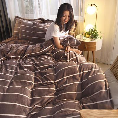 2019秋冬-牛奶絨四件套系列 床單款三件套1.2m床 條紋生活-咖
