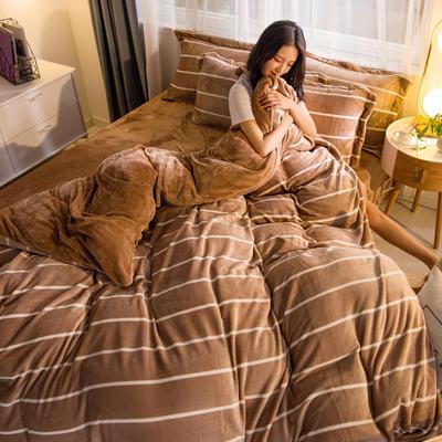 2019秋冬-牛奶絨四件套系列 床單款三件套1.2m床 條紋生活-駝