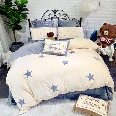 2019新款寶寶絨刺繡四件套—小星星 2m床單款 小星星-蘭