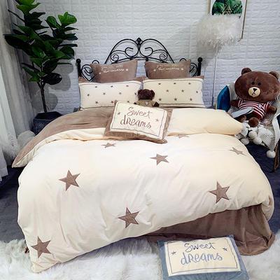 2019新款寶寶絨刺繡四件套—小星星 1.5m床單款 小星星-棕