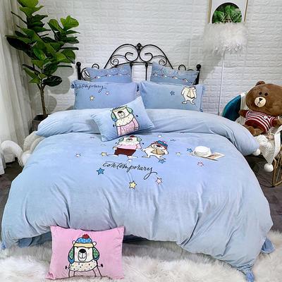 2019新款宝宝绒刺绣四件套—熊样 抱枕/个(含芯) 熊样-兰